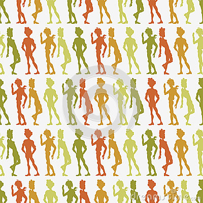 Seamless pattern with people silhouettes