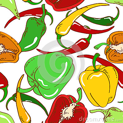 Seamless pattern of peppers