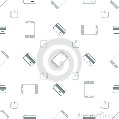 Seamless pattern with phones and cards Vector Illustration