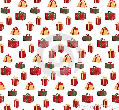 Seamless Pattern with Picture of Gift Boxes. Pattern gift box for fabric print, wrapping package gift box paper. Red Vector Illustration