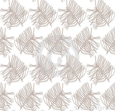 Seamless pattern with pine branches and cones Vector Illustration