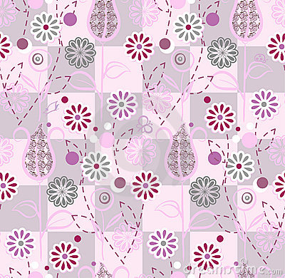 Seamless pattern - pink flowers
