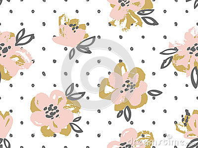 Seamless pattern with pink and gold flowers on the polka dot background. Vector Illustration