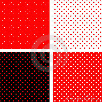 Seamless pattern pois red and black