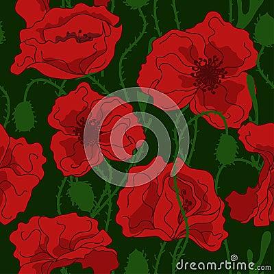 Seamless pattern of poppy flowers