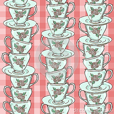 Seamless pattern of porcelain tea cups