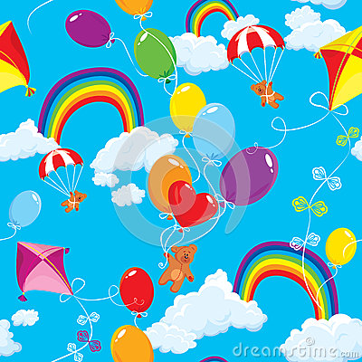 Seamless pattern with rainbows, clouds, colorful b