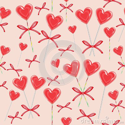 Seamless pattern. Red candy in the shape of heart bandaged with ribbon. Valentine`s gift for St. Valentine`s Day. Vector Cartoon Illustration