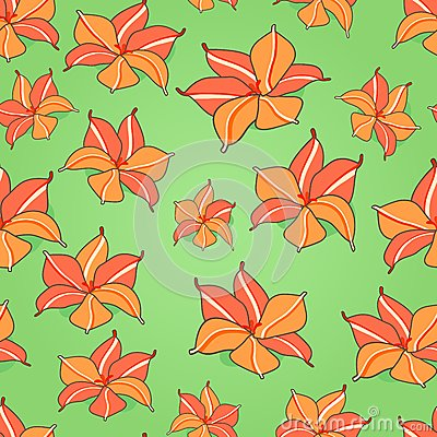 Seamless Pattern with Red Flowers
