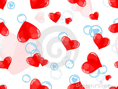 Seamless pattern with red hearts and blue bubbles