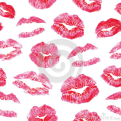 Free Seamless Pattern - Red Lips Kisses Prints Royalty Free Stock Photography - 58566887