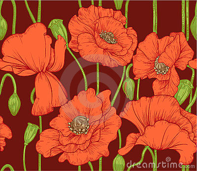 Seamless pattern of red poppies on dark background