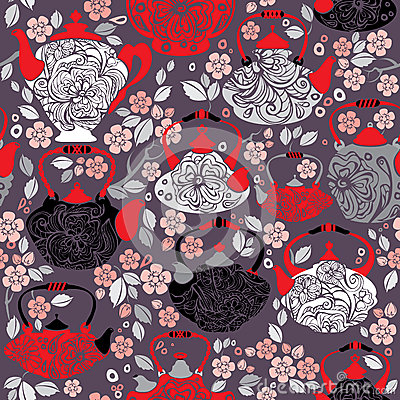 Seamless pattern with retro design china tea pots