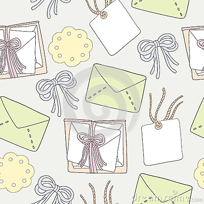 Seamless pattern of ribbon bows and letter backgro
