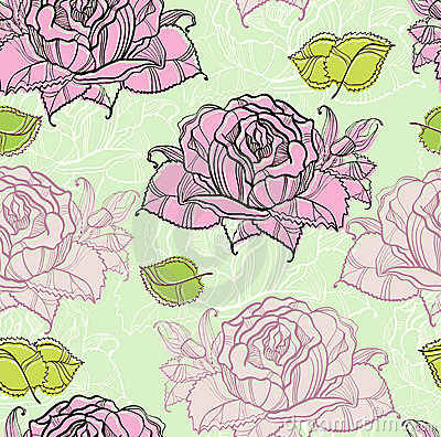Seamless pattern with rose