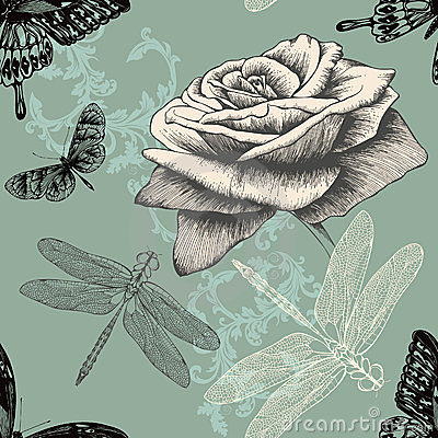 Seamless pattern with rose, decorative butterflies