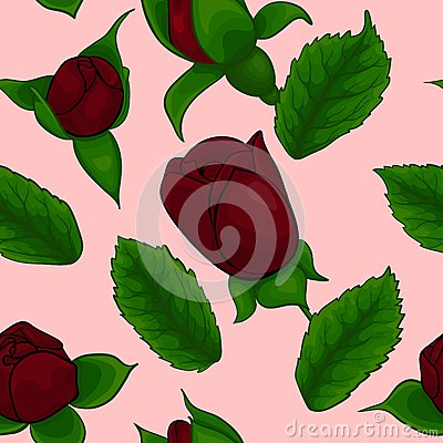 Seamless pattern, rose and leaves