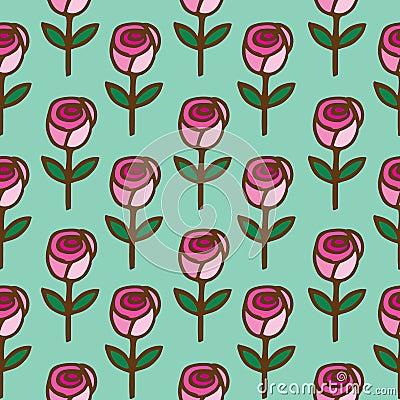 Seamless pattern of  roses flower