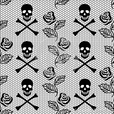 Seamless pattern of roses and skulls