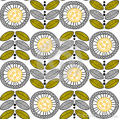 Seamless pattern Round Flowers
