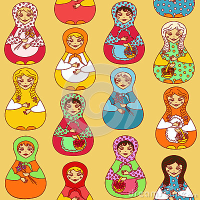 Seamless pattern of Russian dolls matrioshka