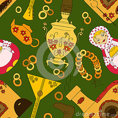 Seamless pattern with Russian samovar, oven and tea stuff