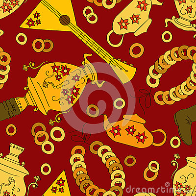 Seamless pattern with Russian samovar and tea stuf