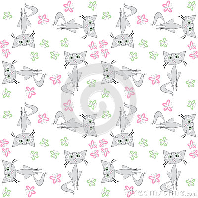 Free Seamless Pattern  Sad Cat And Butterfly Royalty Free Stock Photos - 62964118