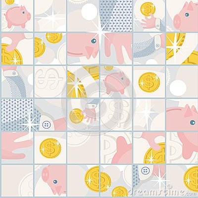 Seamless pattern with saving pigs and money.