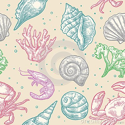 Free Seamless Pattern Sea Shell, Coral, Crab And Shrimp.  Stock Images - 73783614