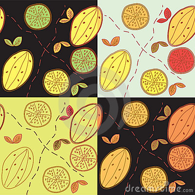 Seamless pattern set with lemon