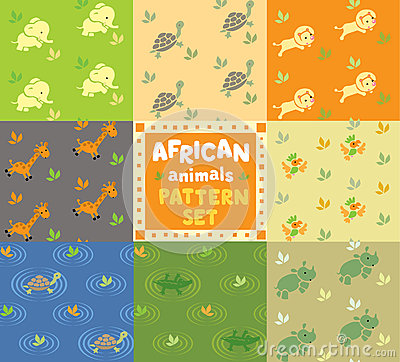 Free Seamless Pattern Set With Funny African Animals Royalty Free Stock Photos - 62000358