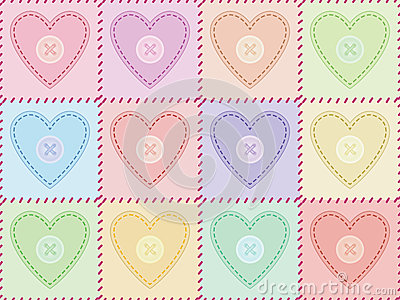 Pattern with sewed felt hearts