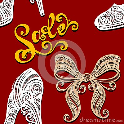 Seamless Pattern with Shoes, Sale (Vector)