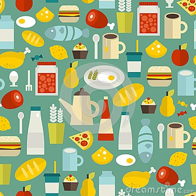 Seamless pattern with simple food.