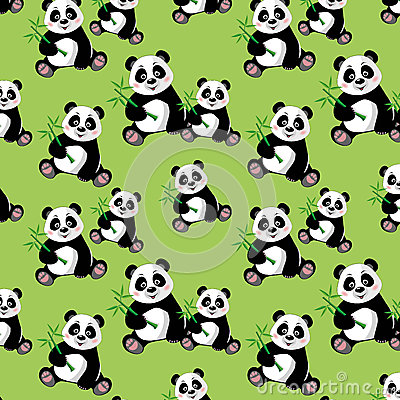 Stock images seamless pattern with sitting cute panda and bambo