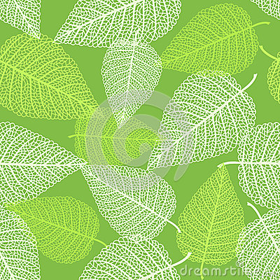 Seamless pattern with skeletons of leaves Vector Illustration