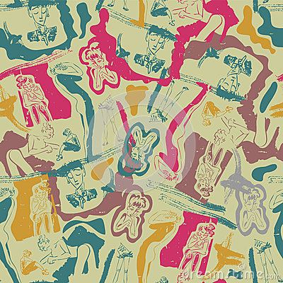 Seamless pattern with sketches of people