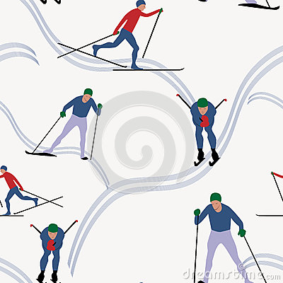 Seamless pattern skiing in winter Vector Illustration
