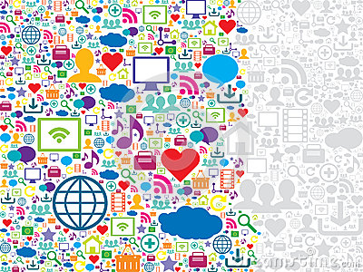 Seamless pattern social media and technology icons