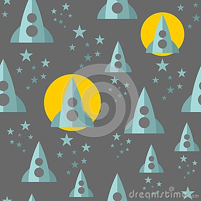 Seamless pattern with space ship. Vector Illustration