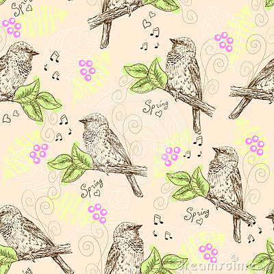 Seamless pattern with sparrows
