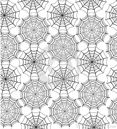 Seamless pattern with spiders  web