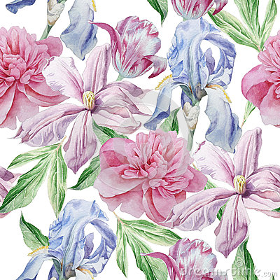 Seamless pattern with spring flowers. Peony. Clematis. Tulip. Iris. Watercolor. Stock Photo