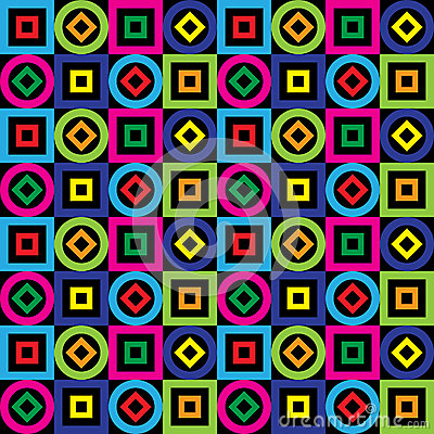 Free Seamless Pattern. Squares, Circles, Diamonds On A Black Background. Vector. Royalty Free Stock Images - 46122169