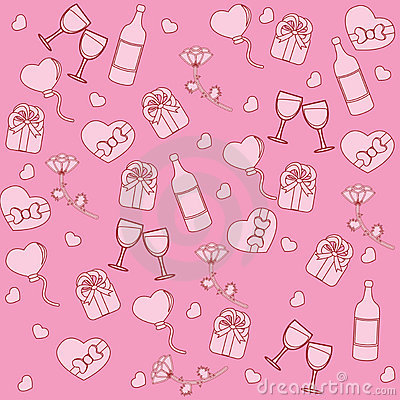Seamless pattern with st. valentine stuff