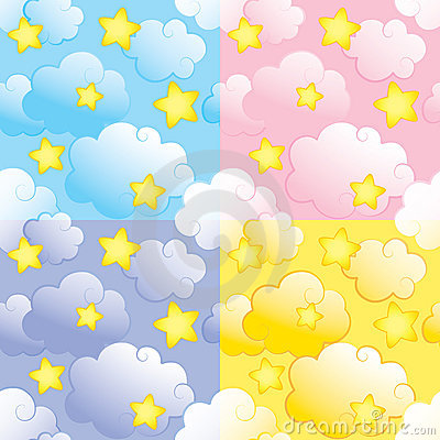 Seamless pattern with stars and clouds