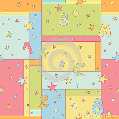 Seamless pattern with stars, letters and numbers
