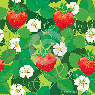 Seamless pattern. Strawberries in heart shapes wit