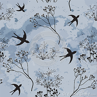 Seamless pattern with swallows and cloudy sky